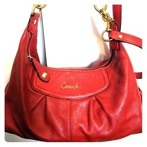 Coach Ashley satchel red leather